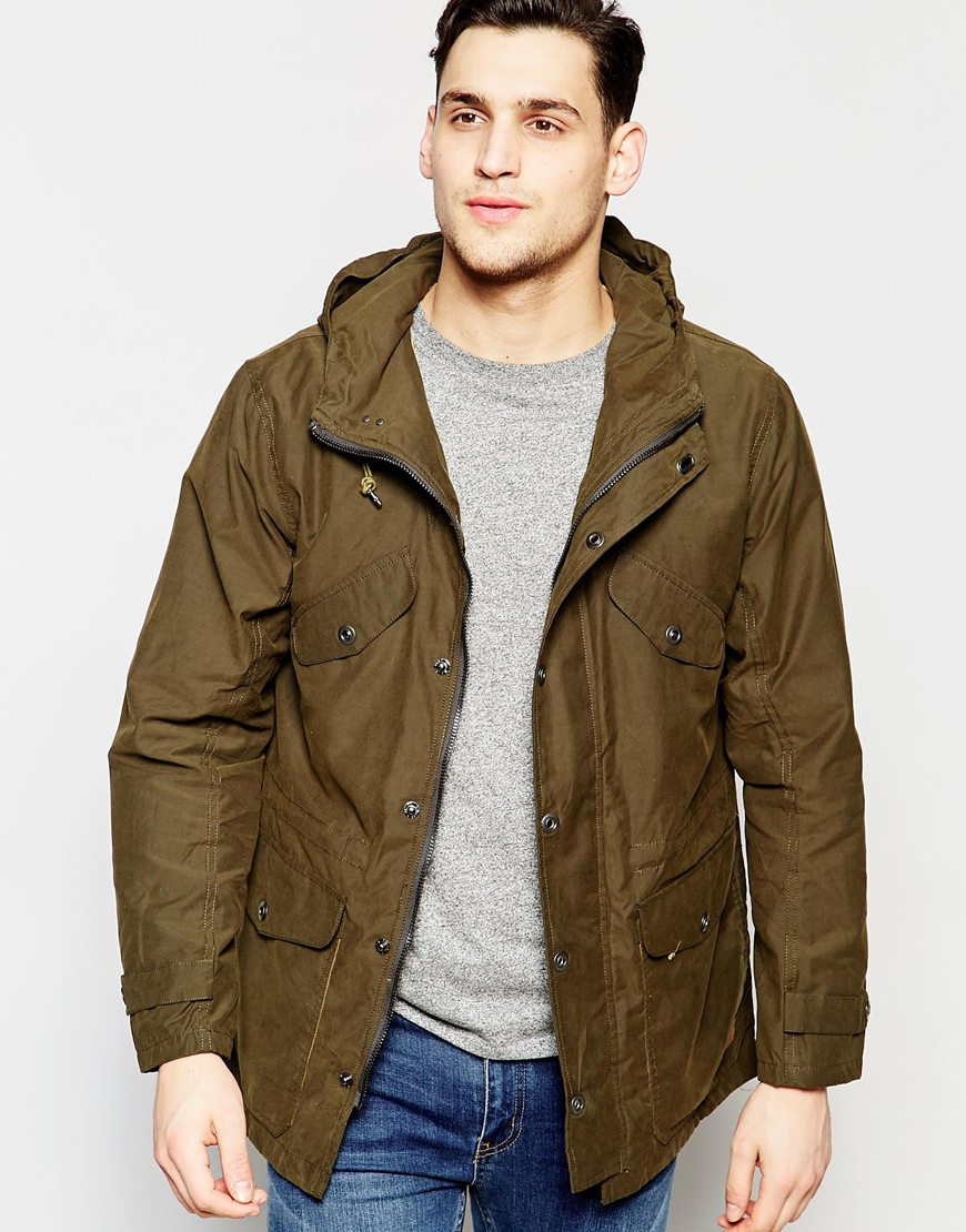 Lee jeans Hooded Parka Waxed Cotton In Green in Brown for Men | Lyst