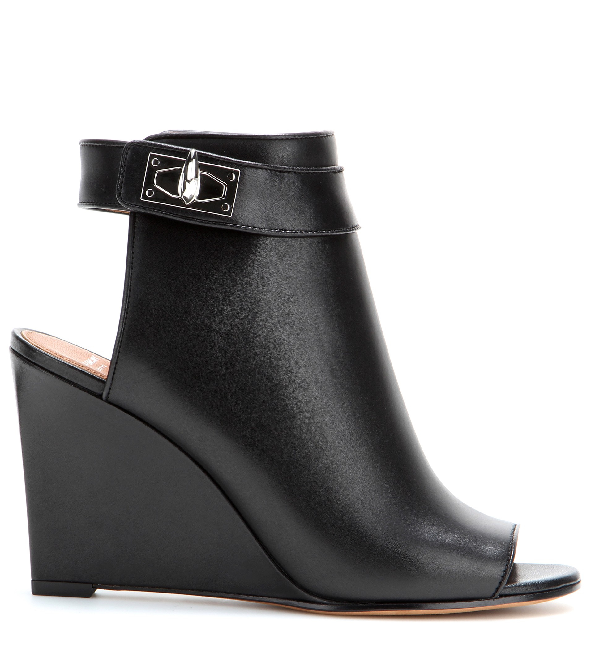 Givenchy Leather Wedge Sandals in Black | Lyst