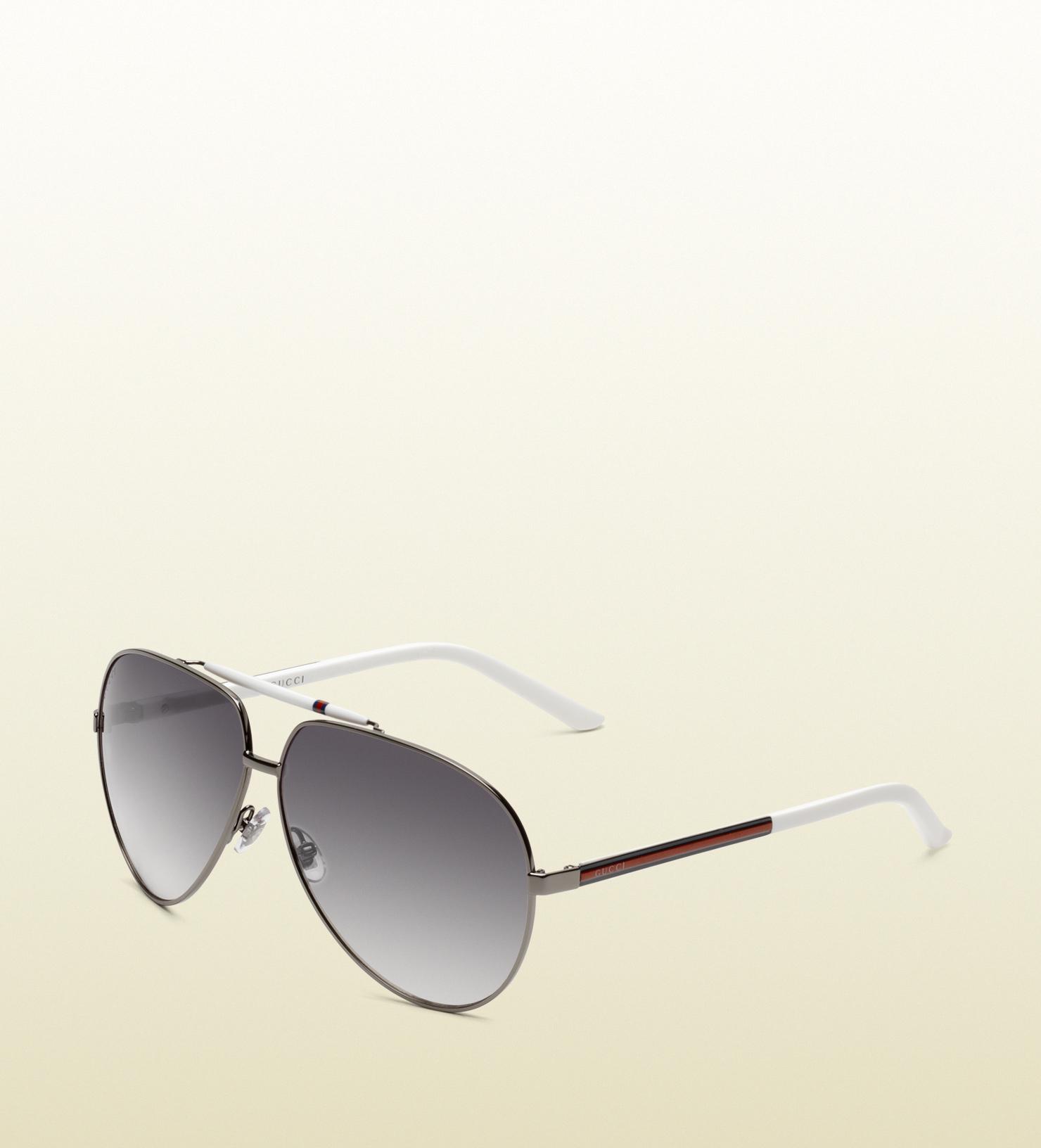874b7d088d5 Lyst - Gucci Medium Aviator Sunglasses With Signature Web Detail On ...