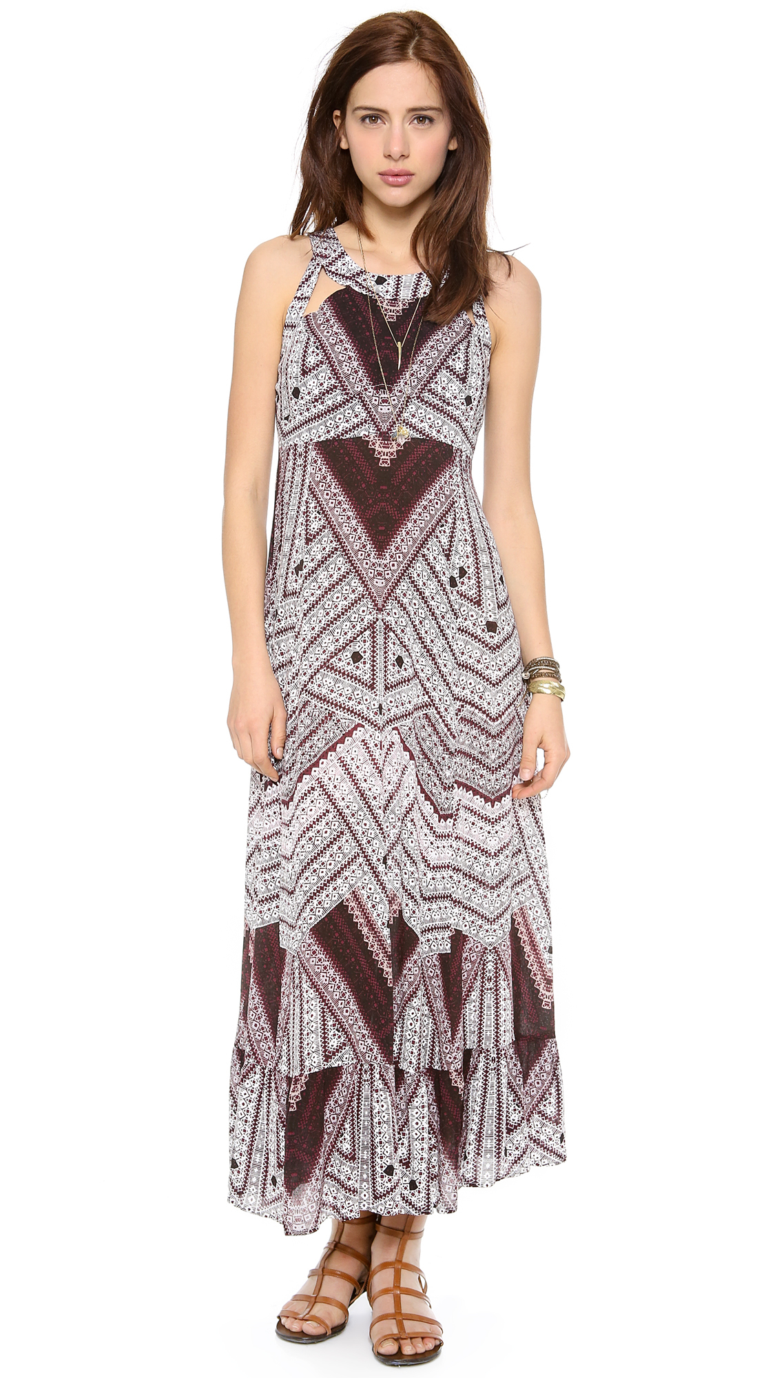 Free people You Made My Day Printed Maxi Dress in Red | Lyst
