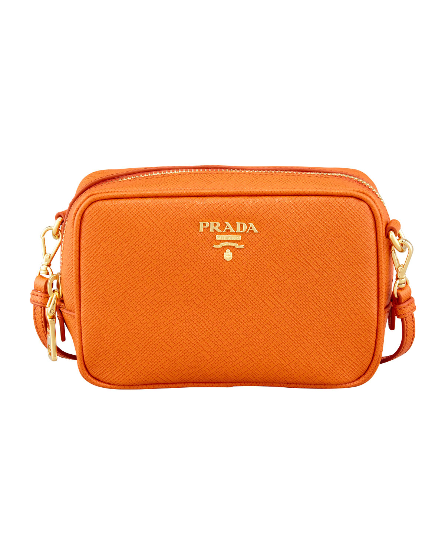 Prada Saffiano Small Zip Crossbody Bag in Orange