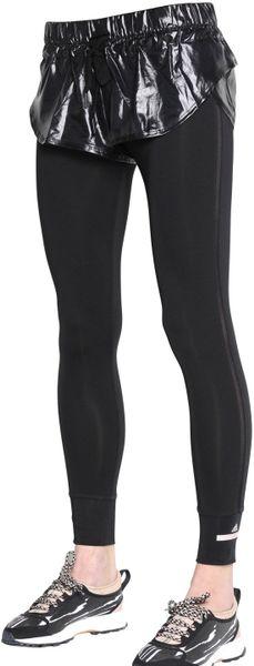 Adidas By Stella Mccartney Shiny Nylon Shorts & Microfiber