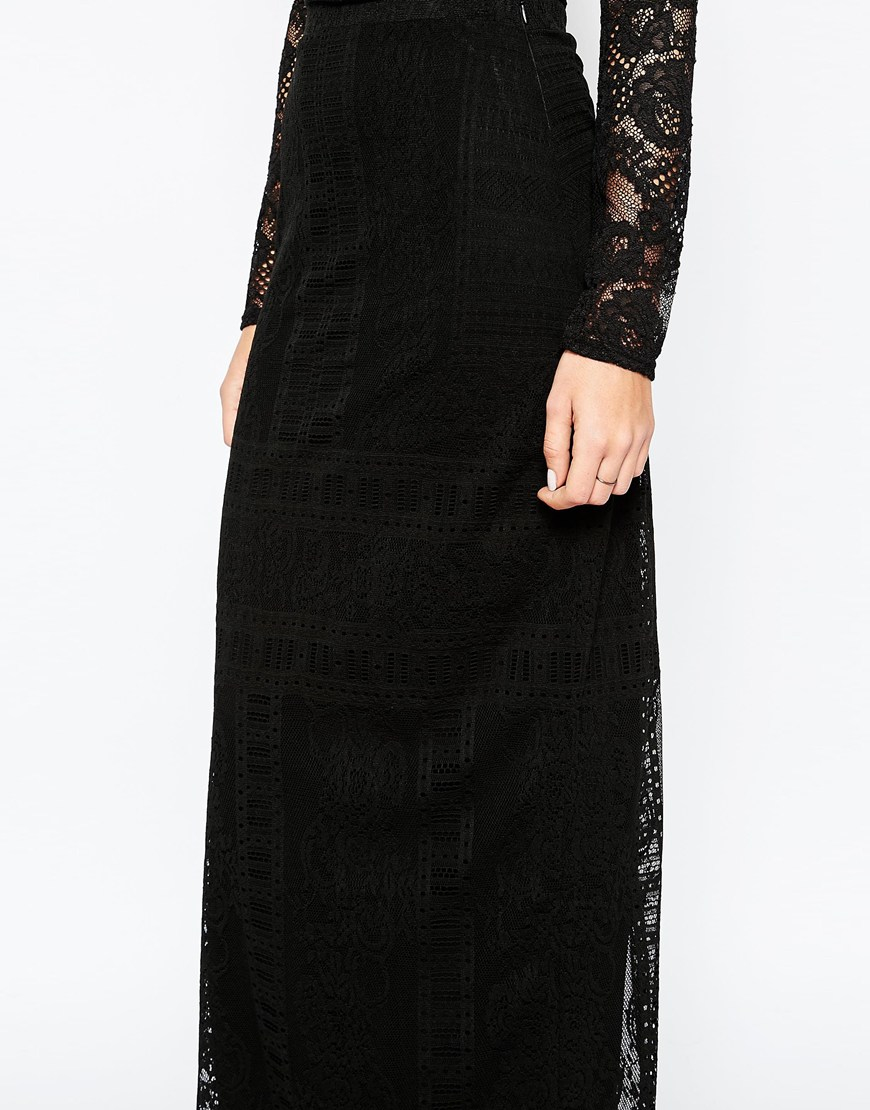 warehouse placed lace maxi skirt black in black lyst