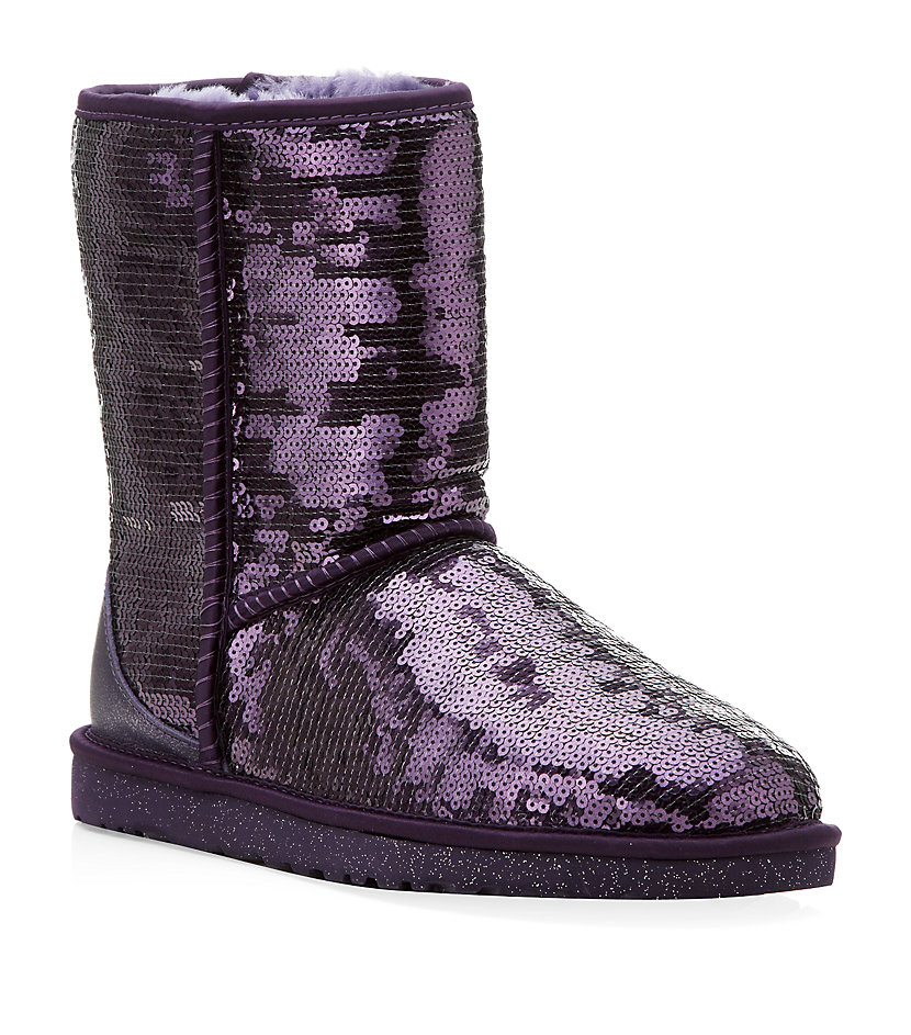 Ugg classic short sparkle boot in purple lyst