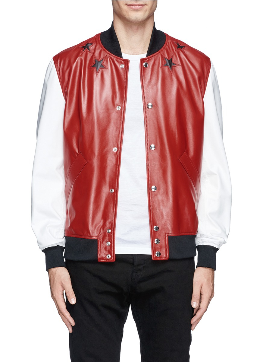 Givenchy Star Leather Bomber Jacket in Red for Men | Lyst