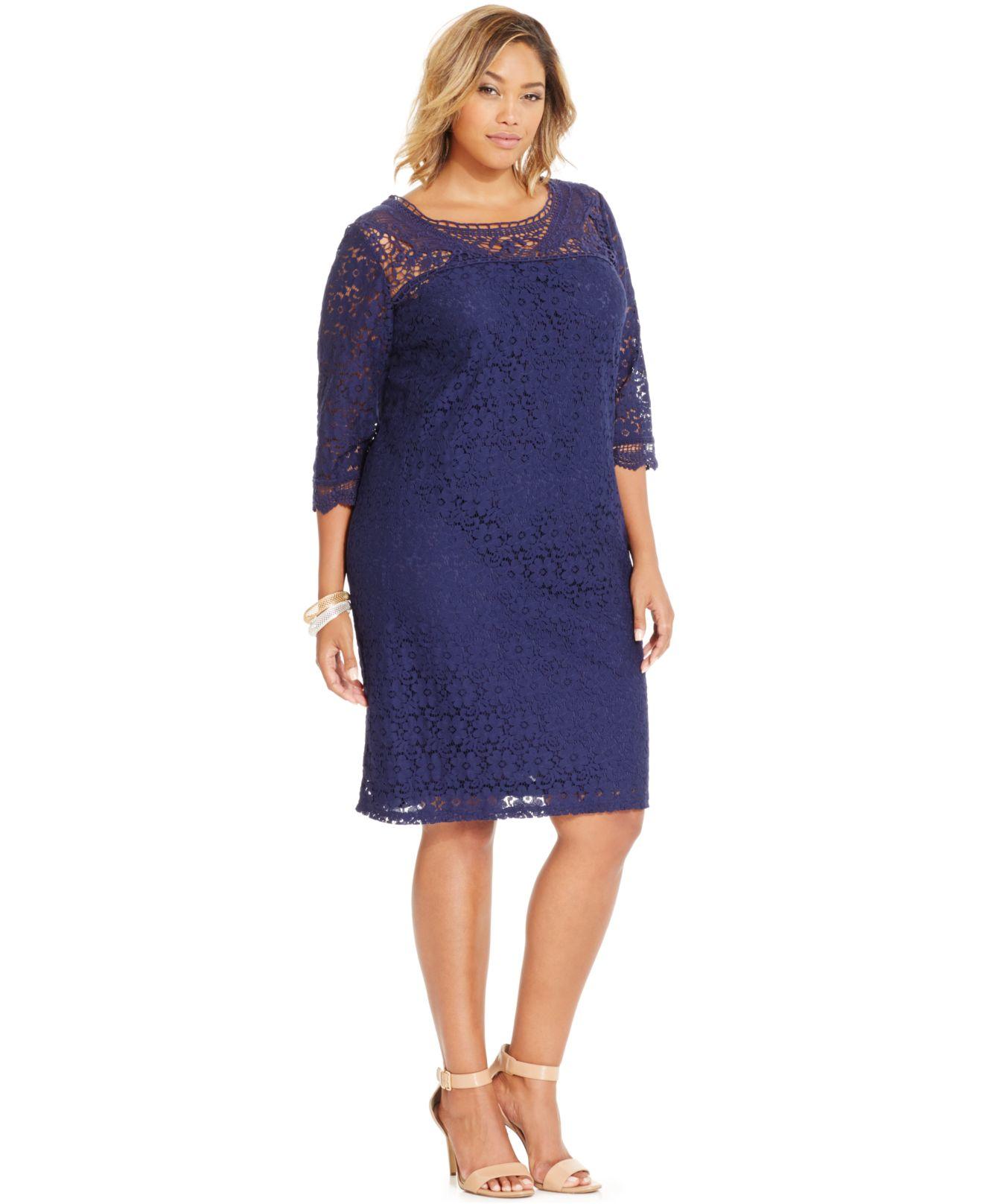 Spense Blue Plus Size Three-quarter-sleeve Lace Dress