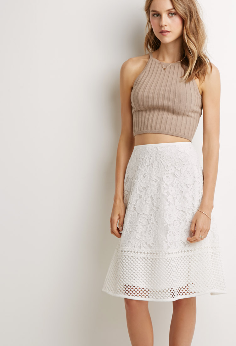 Forever 21 Mesh-paneled Lace A-line Skirt in White | Lyst