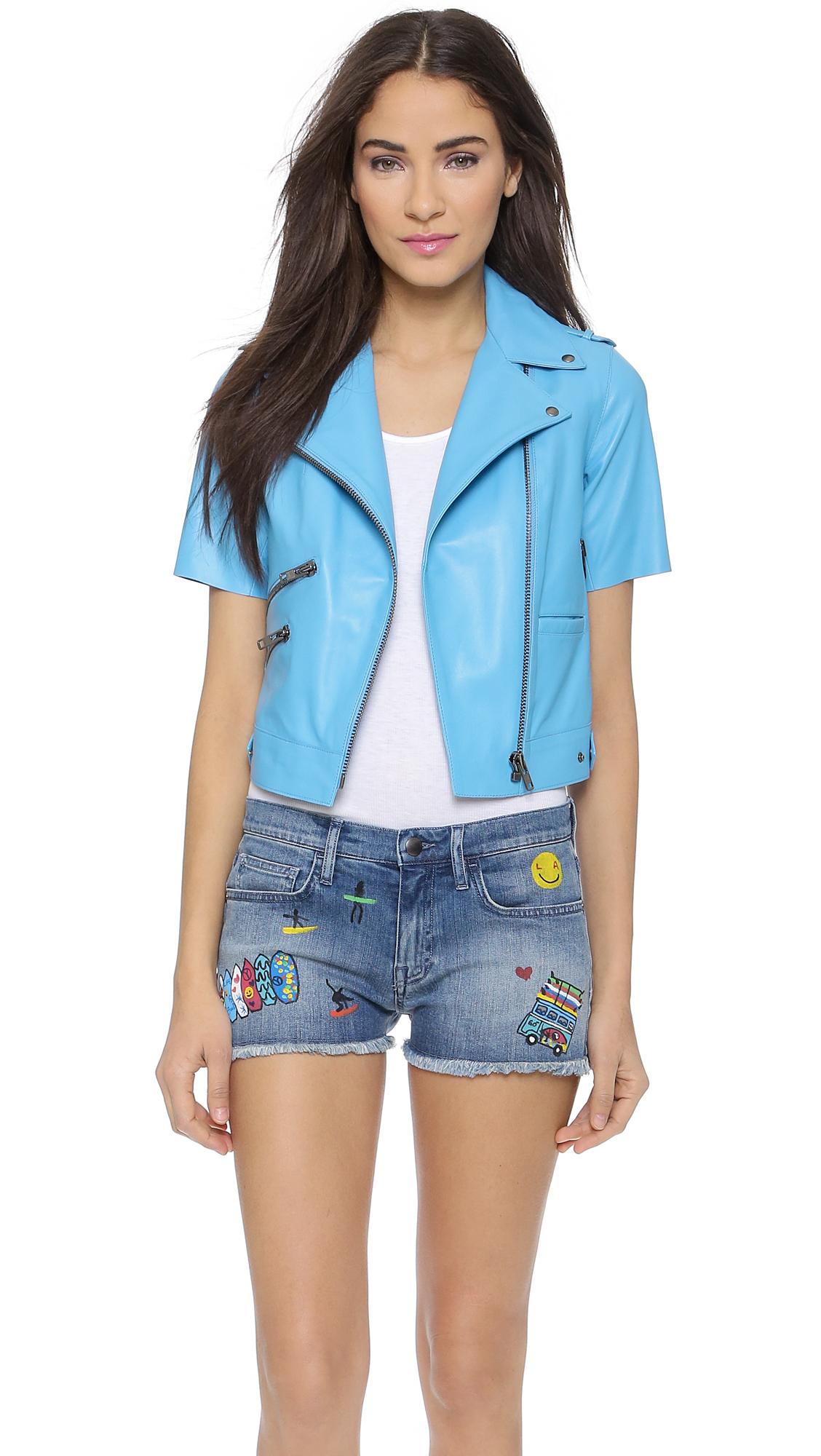 Mira mikati Short Sleeve Leather Jacket - Light Blue in Blue | Lyst