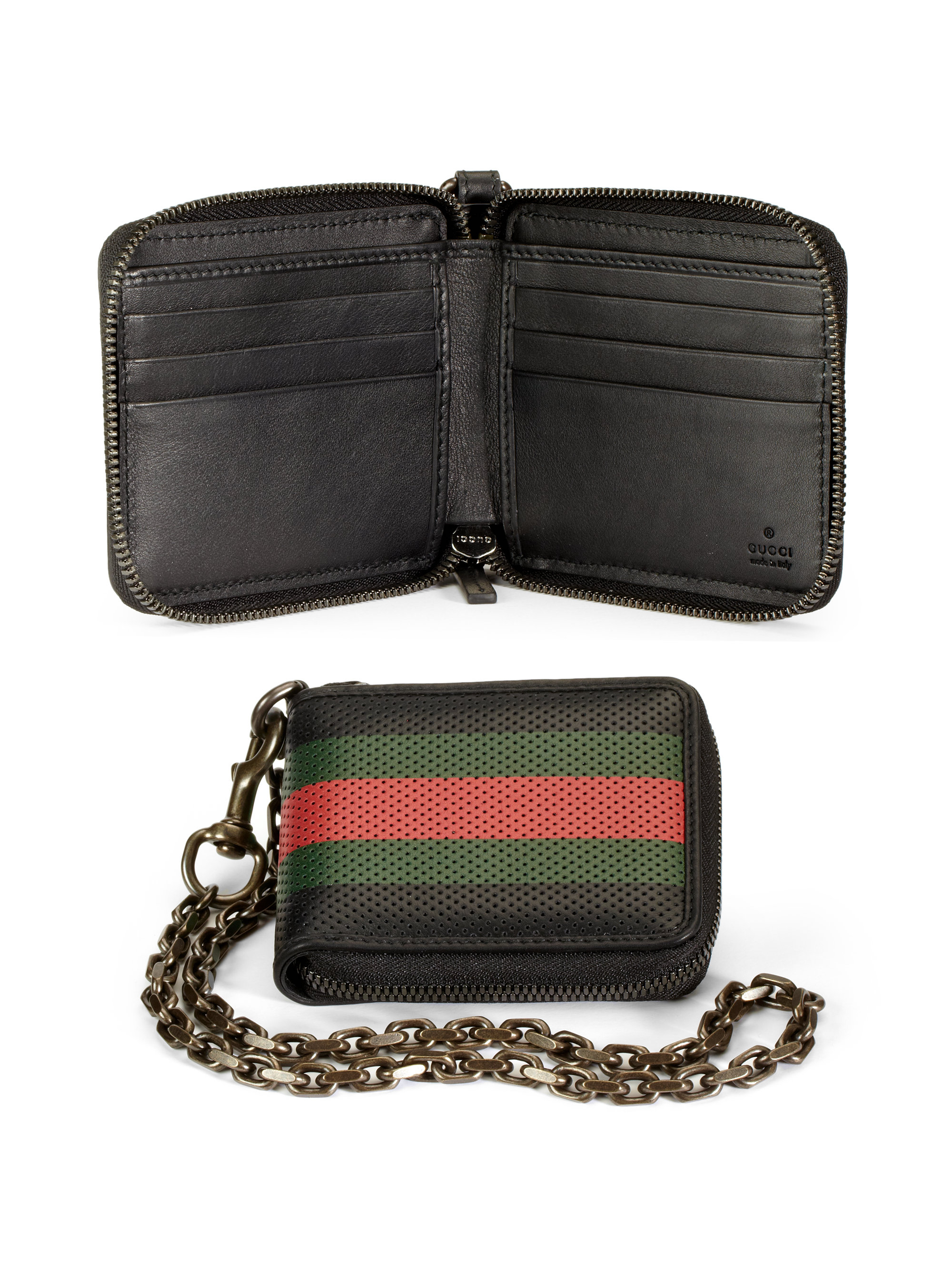 Lyst - Gucci Perforated Leather Web Chain Wallet in Black ...