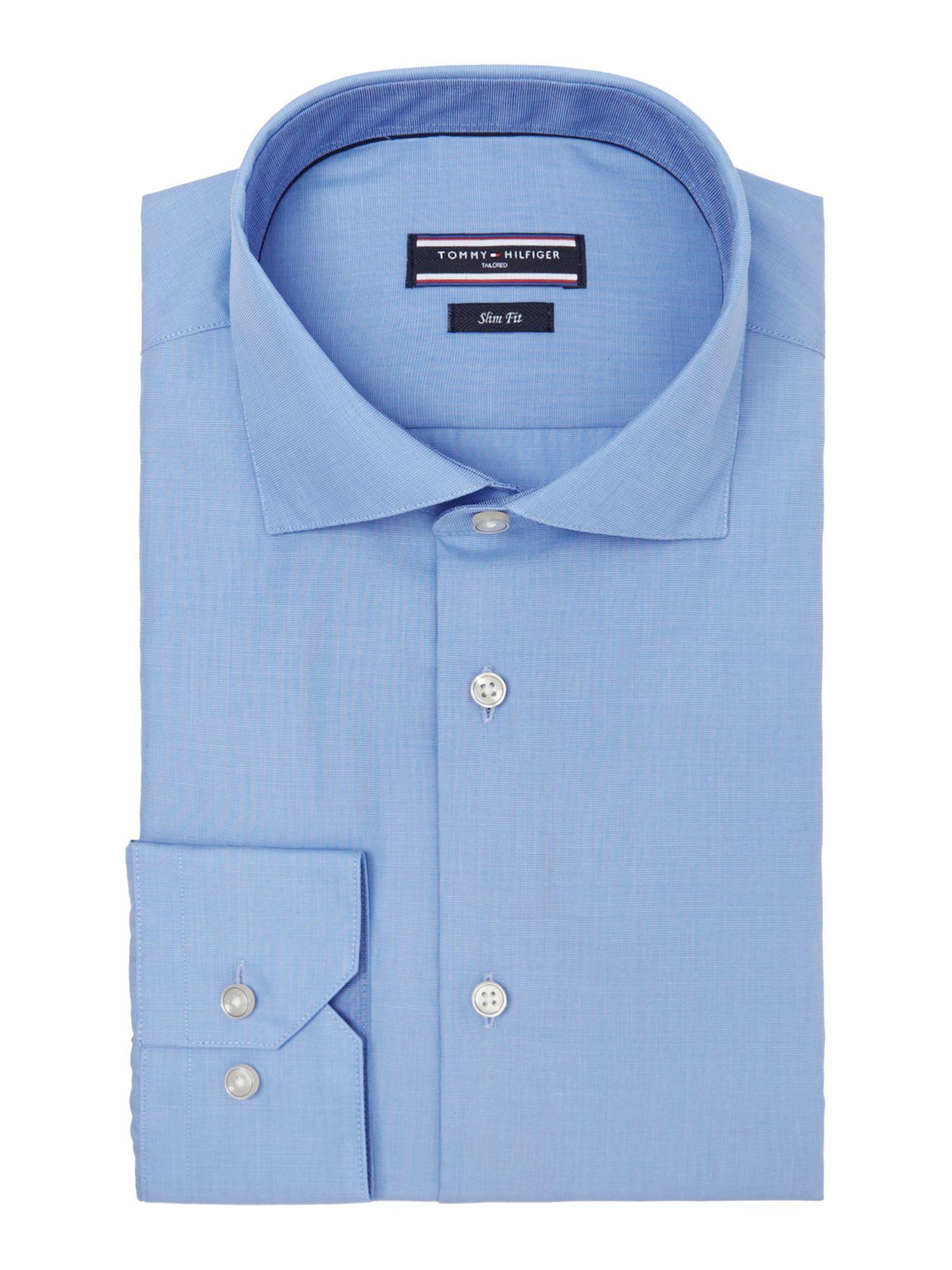 tommy hilfiger scott slim fit plain shirt in blue for men. Black Bedroom Furniture Sets. Home Design Ideas