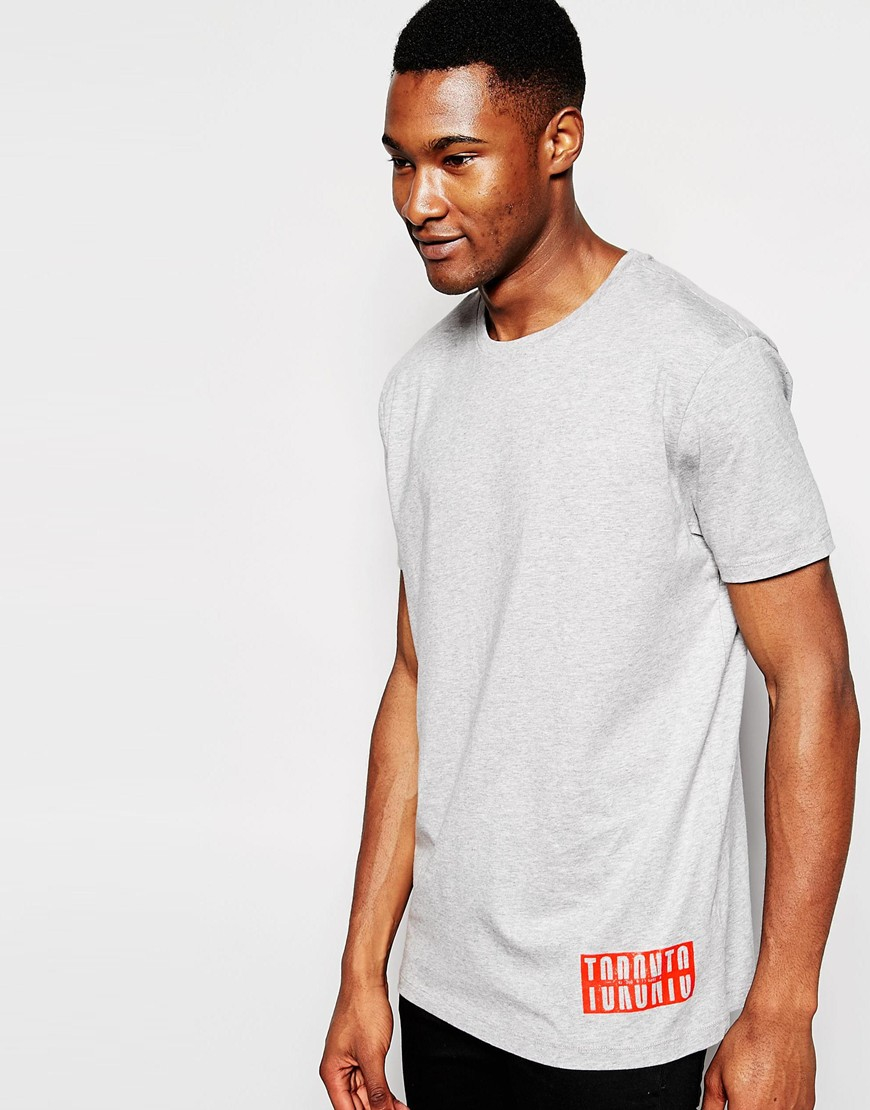 56ee0de6dcb732 Lyst - ASOS Longline T-shirt With Toronto Slogan Front And Back ...