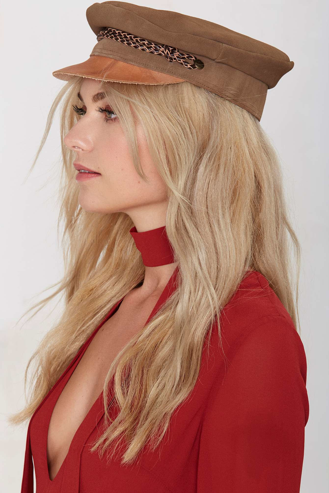 ... best price lyst nasty gal brixton kayla suede cap in natural 68d13 5530f fad4966e81fb
