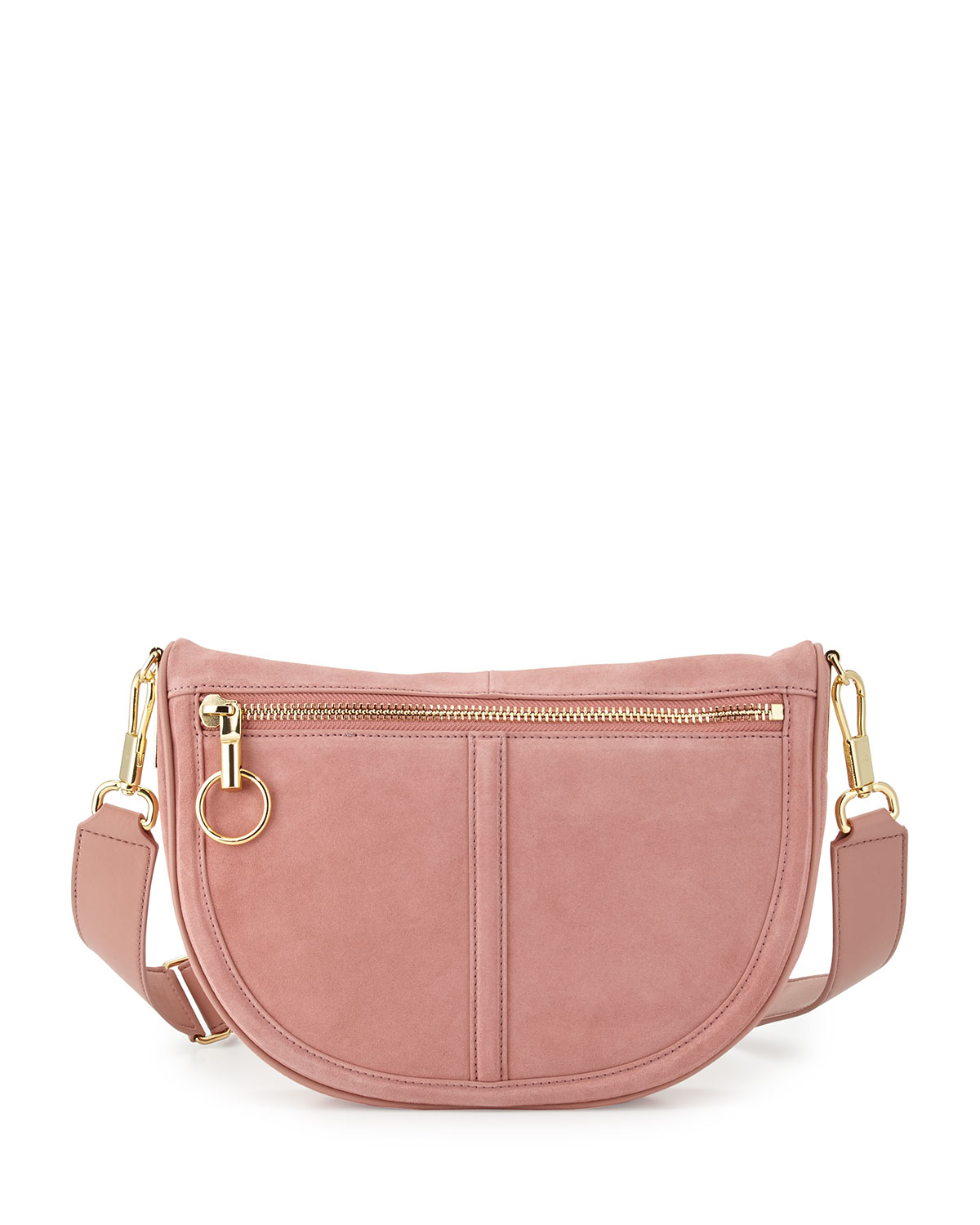 3ba21a7fe9 Elizabeth and James Scott Small Moon Suede Saddle Bag in Pink - Lyst