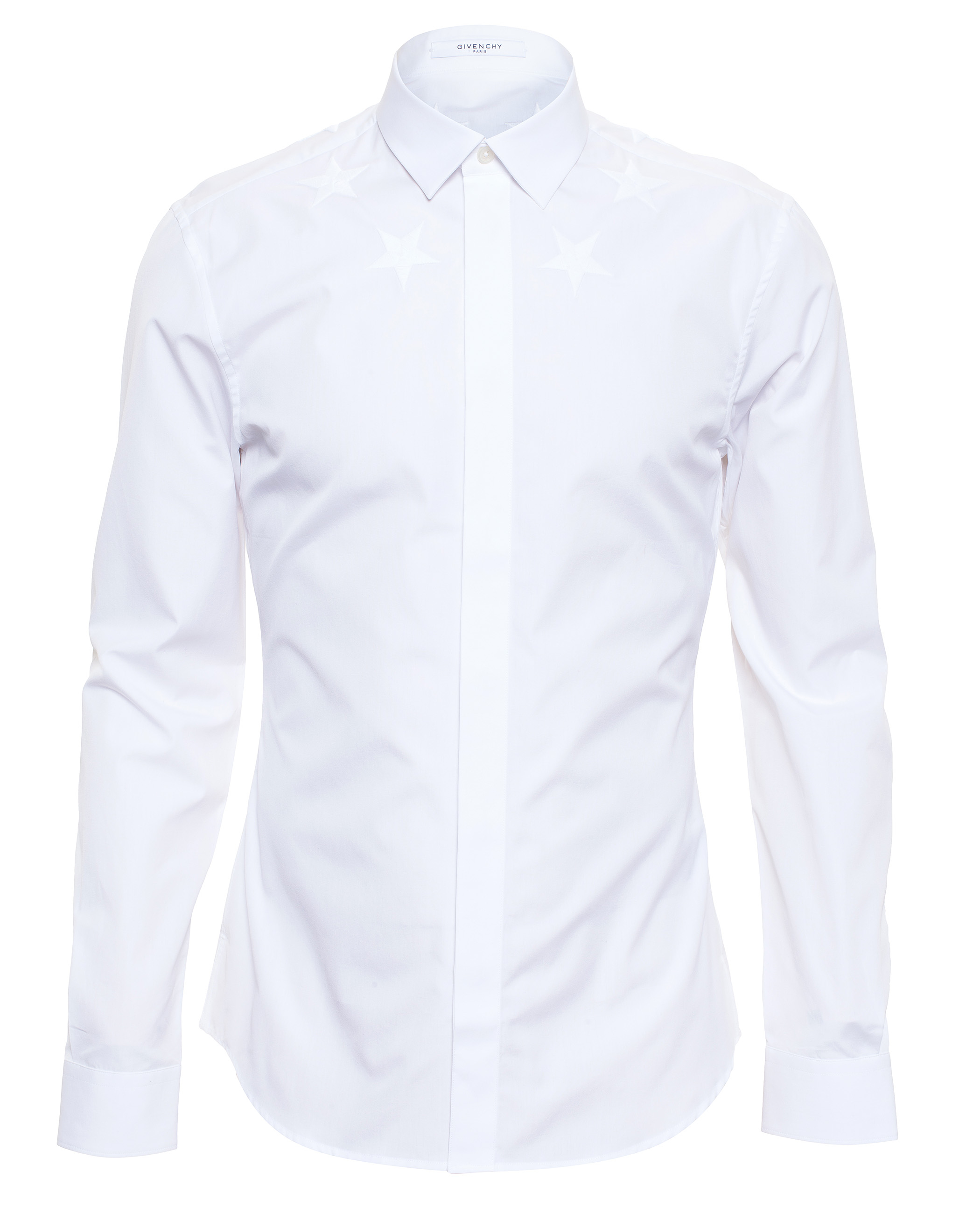 Givenchy cuban fit embroidered star shirt in white for men for Givenchy 5 star shirt