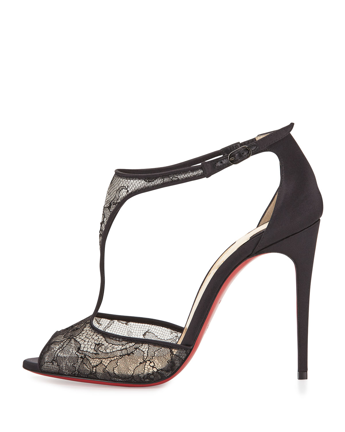 1d1f99bcf32 Lyst - Christian Louboutin Tiny Lace Red Sole T-strap Sandal in Black