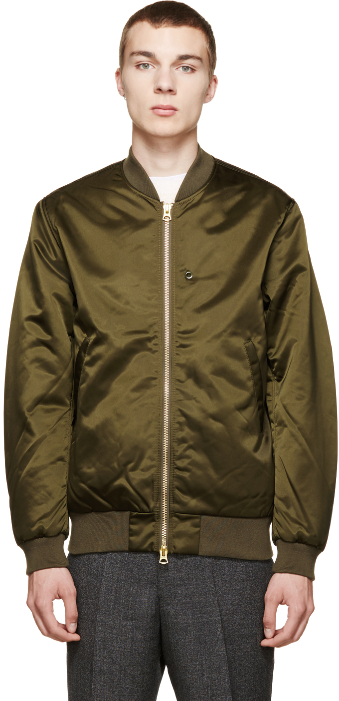 Acne Studios Olive Green Selo Bomber Jacket In Green For