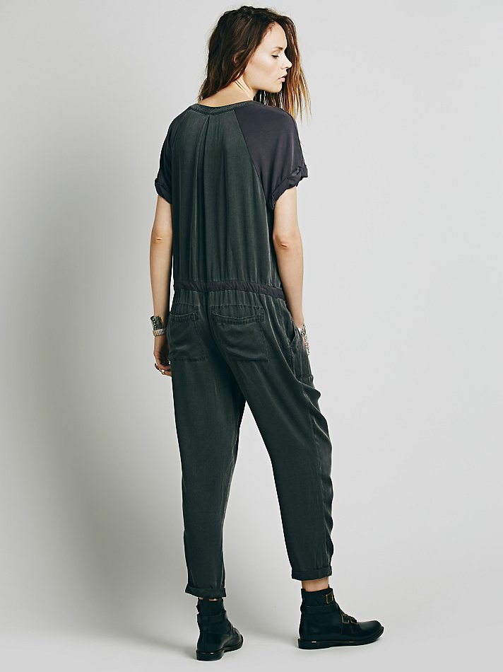 d87ae86f897 Lyst - Free People Soft Utility Jumpsuit in Black