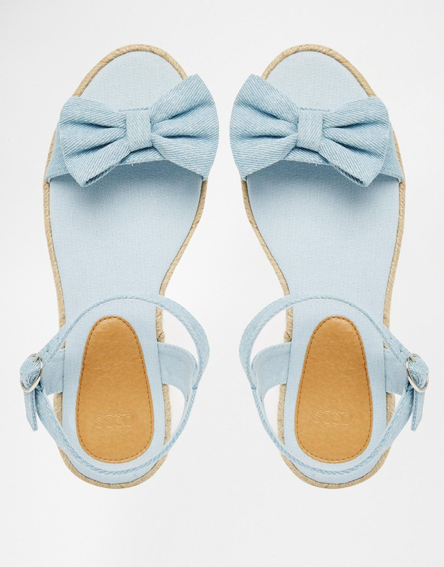 bf734e0e5 Lyst - ASOS Juno Espadrille Bow Sandals in Blue