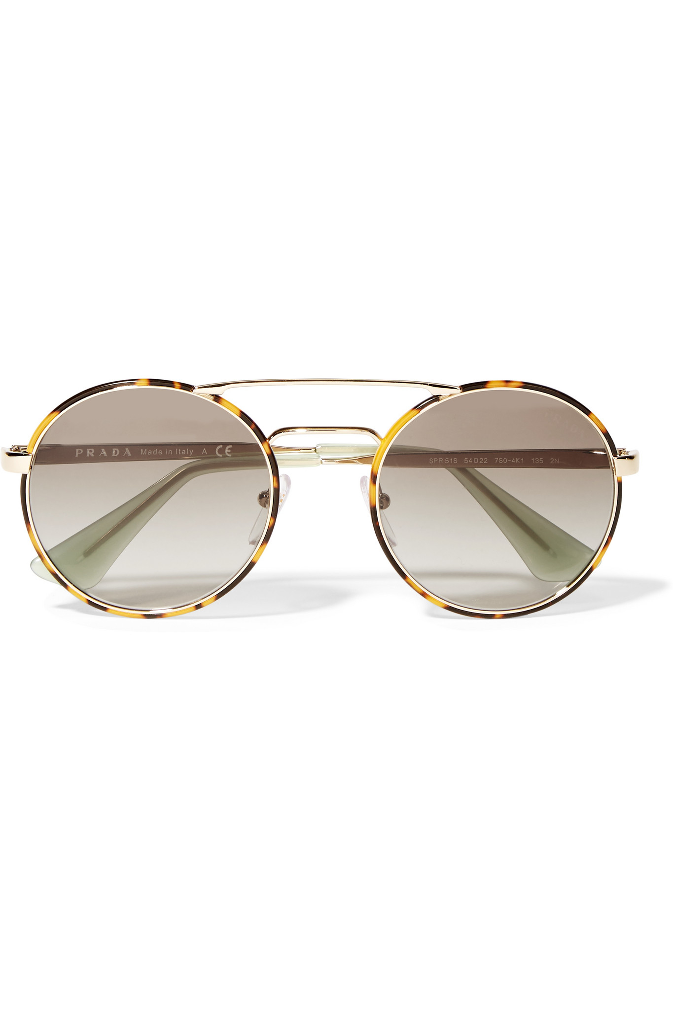 1e4b4cc2a3 ... release date prada round frame acetate and gold tone sunglasses in  brown lyst bf936 90f35