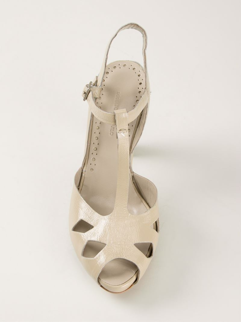 Women S Heeled Platform Sandal   Natural Nude Beige Patent Leather