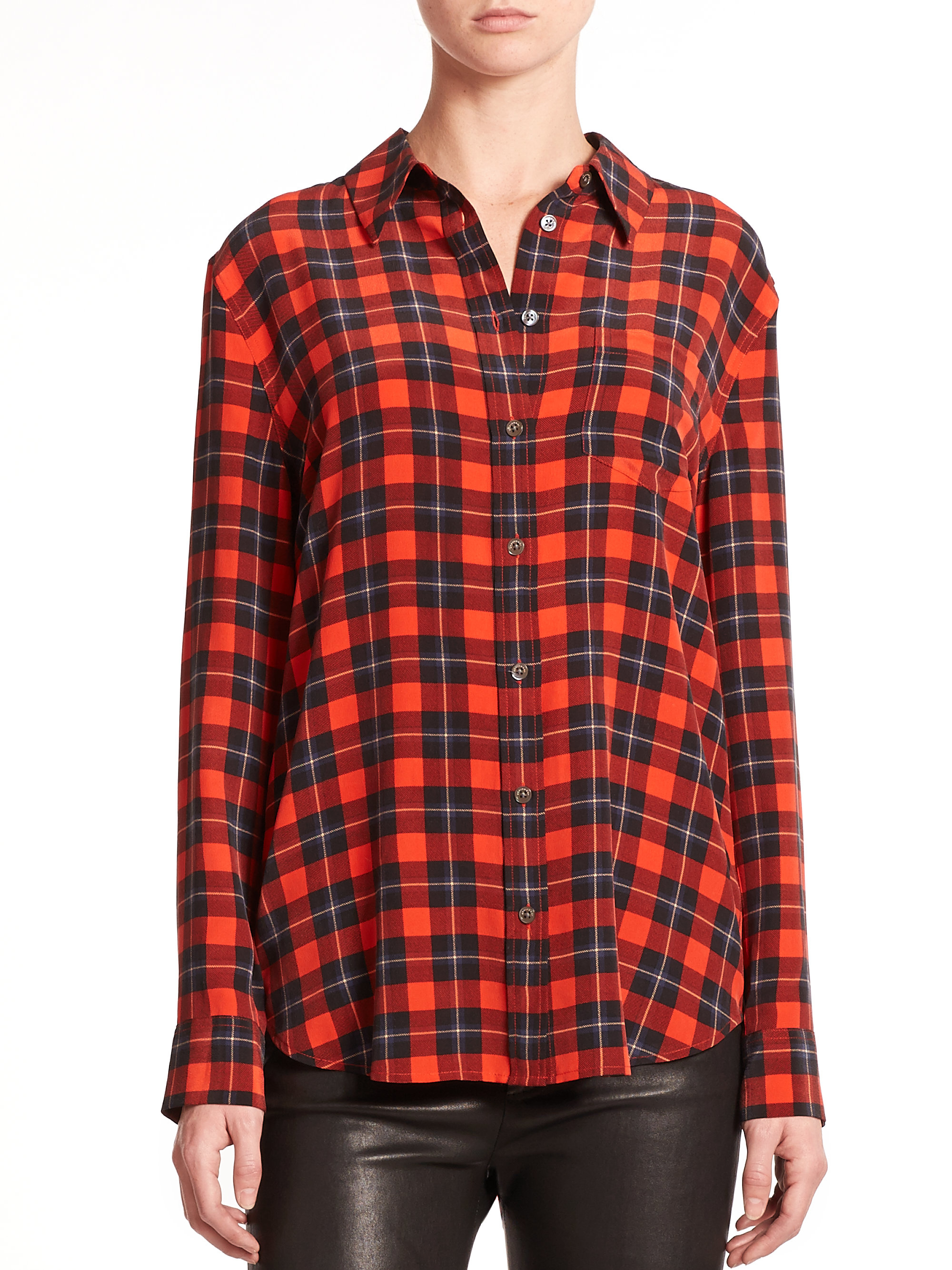 Lyst equipment plaid print shirt in red Womens red tartan plaid shirt