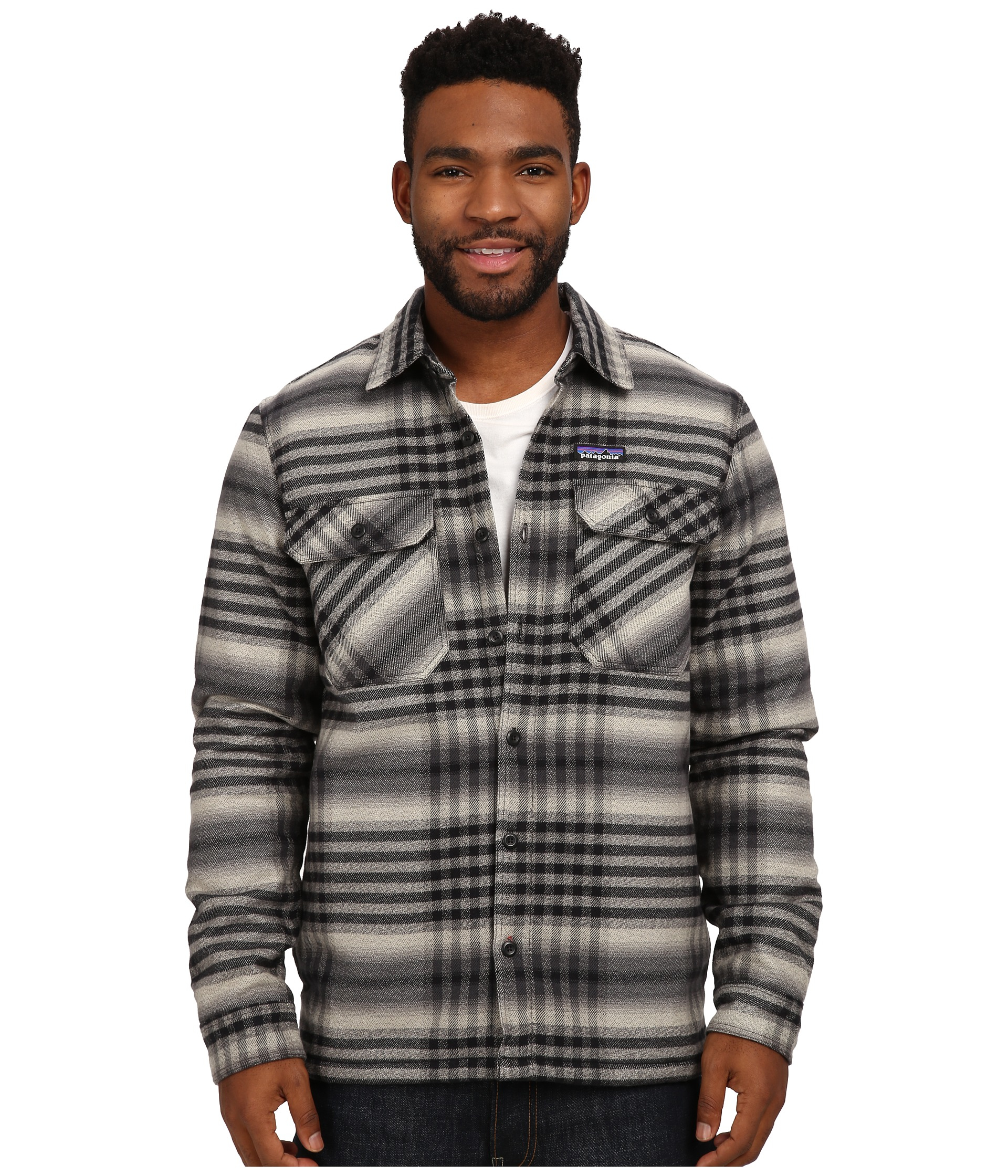 Patagonia Insulated Fjord Flannel Jacket In Black For Men
