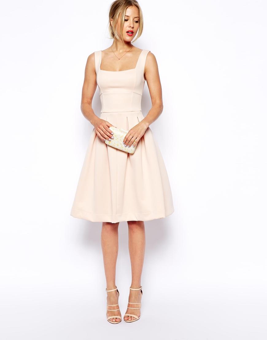 Lyst asos sleeveless debutante midi dress in pink gallery ombrellifo Choice Image