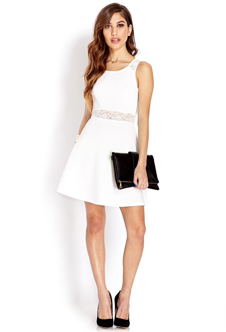 Lyst Forever 21 Garden Party Skater Dress In Natural