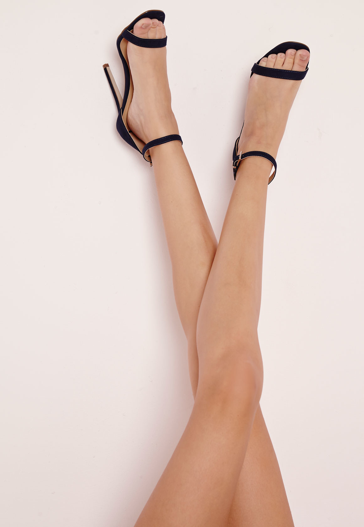 eef85bde24c6 Lyst - Missguided Barely There Heeled Sandals Navy Faux Suede in Blue