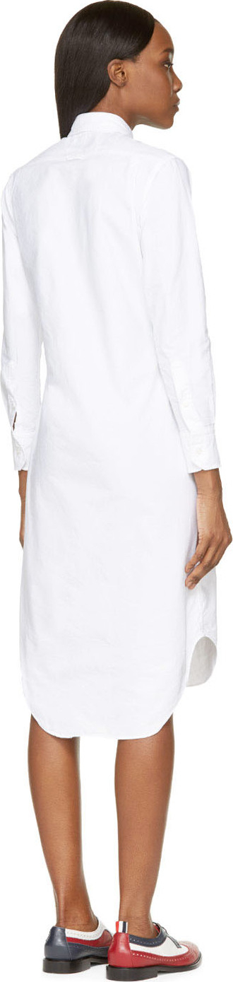 Thom browne white button up shirt dress in white lyst for Thom browne white shirt