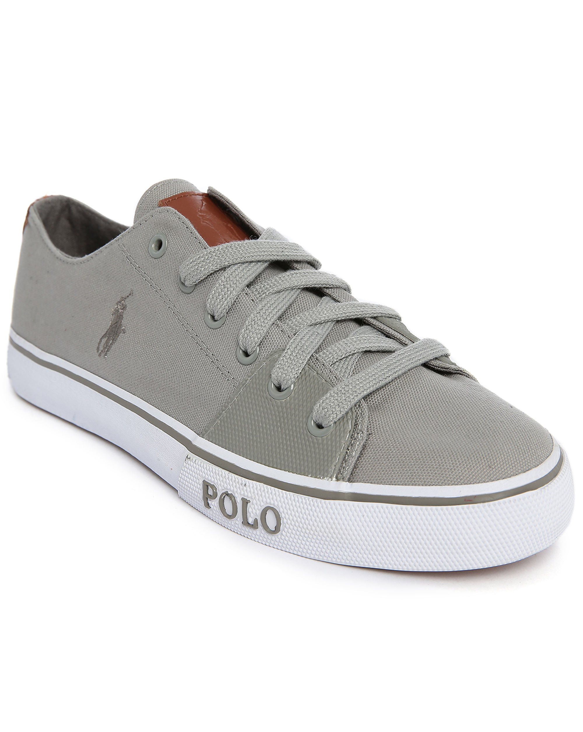 polo ralph cantor grey canvas sneakers in gray for