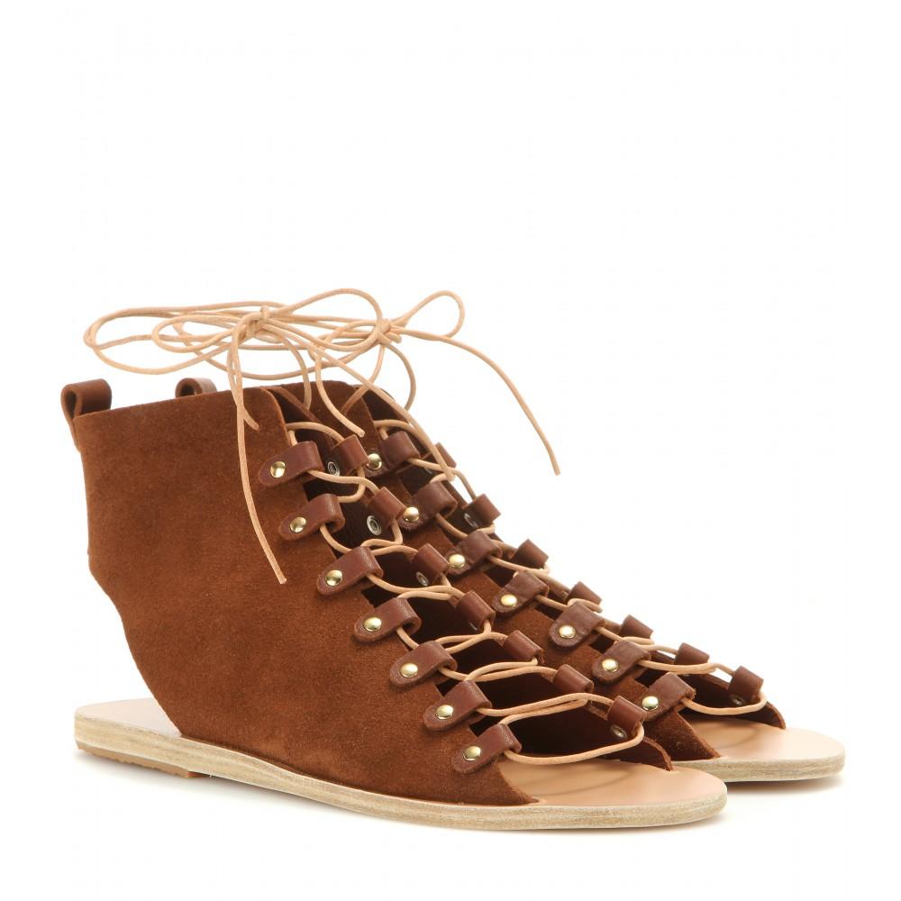 Ancient Greek Sandals Mache Suede Sandals In Brown Lyst