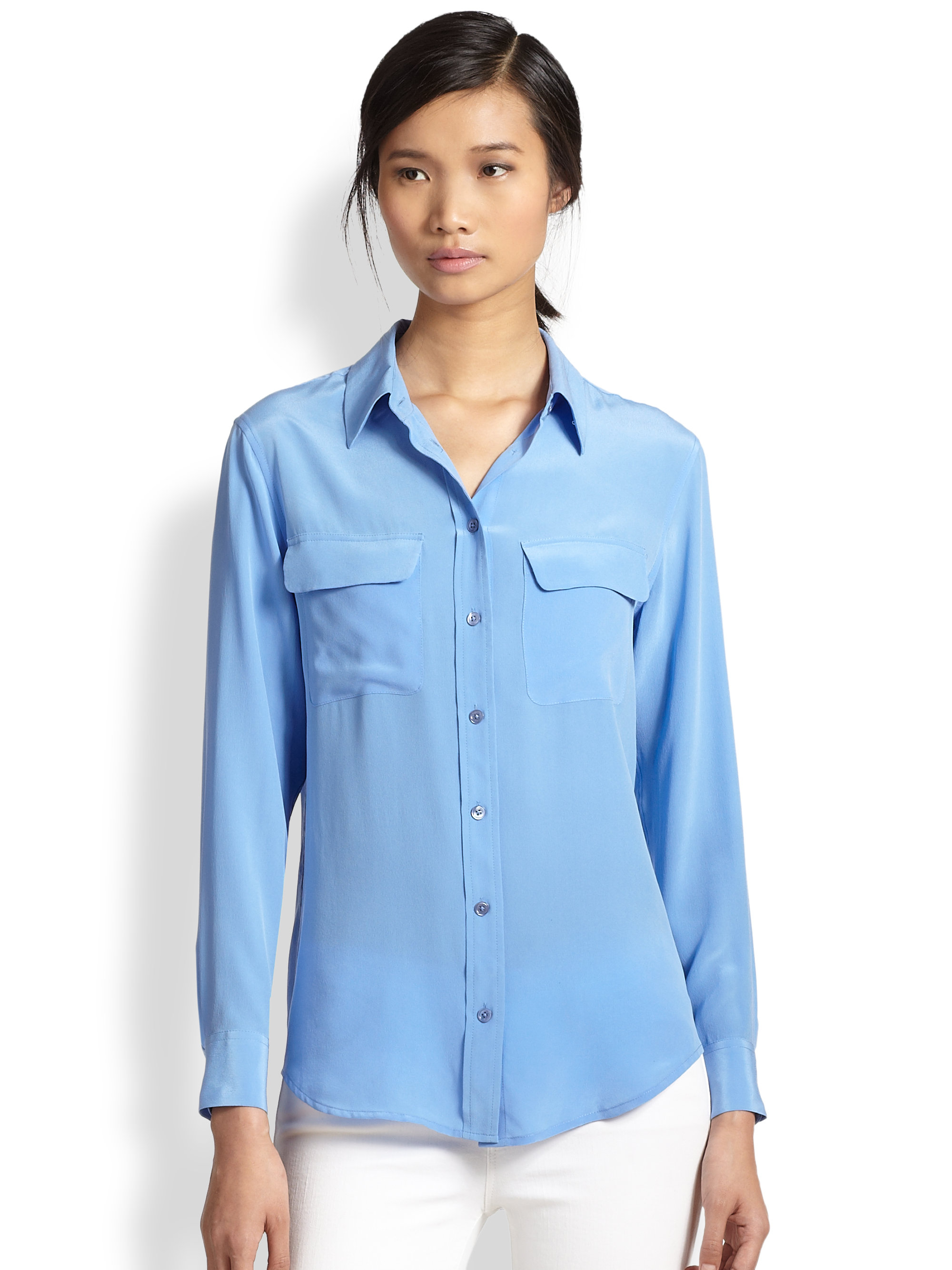 Equipment Slim Signature Silk Shirt In Blue Hydrangea Lyst