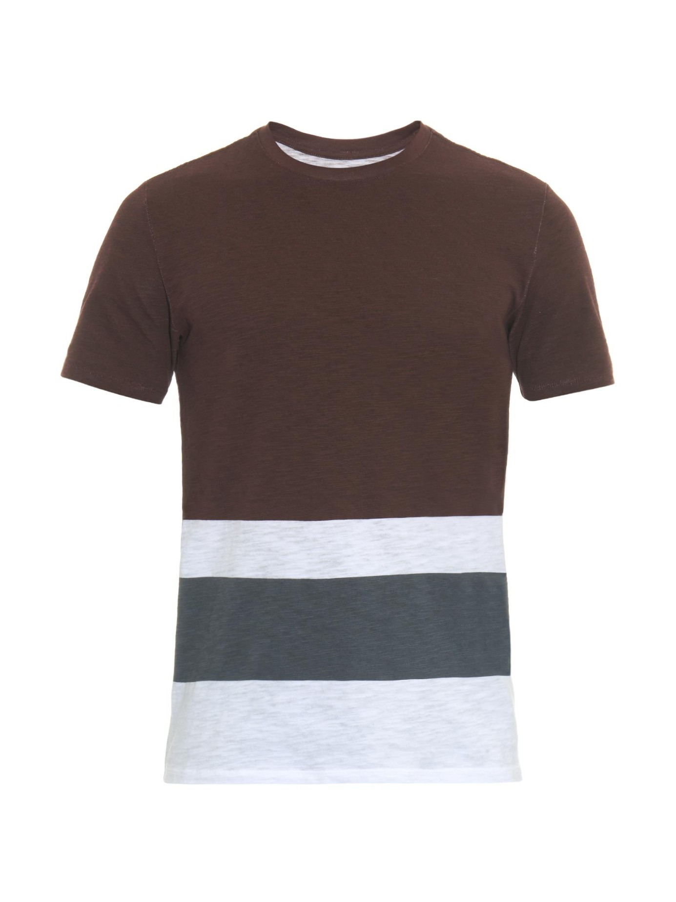 Vince striped cotton jersey t shirt in purple for men lyst for Vince tee shirts sale