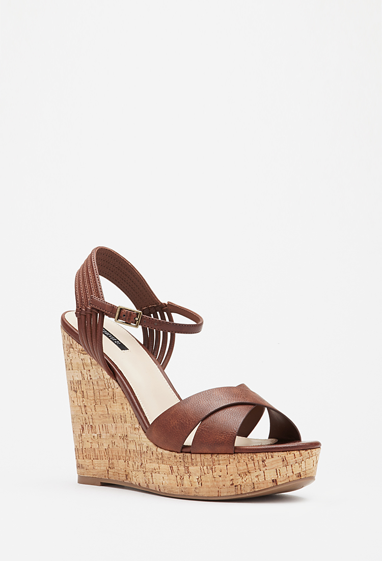 a486f95a5a5 Lyst - Forever 21 Strappy Cork Wedge Sandals in Brown