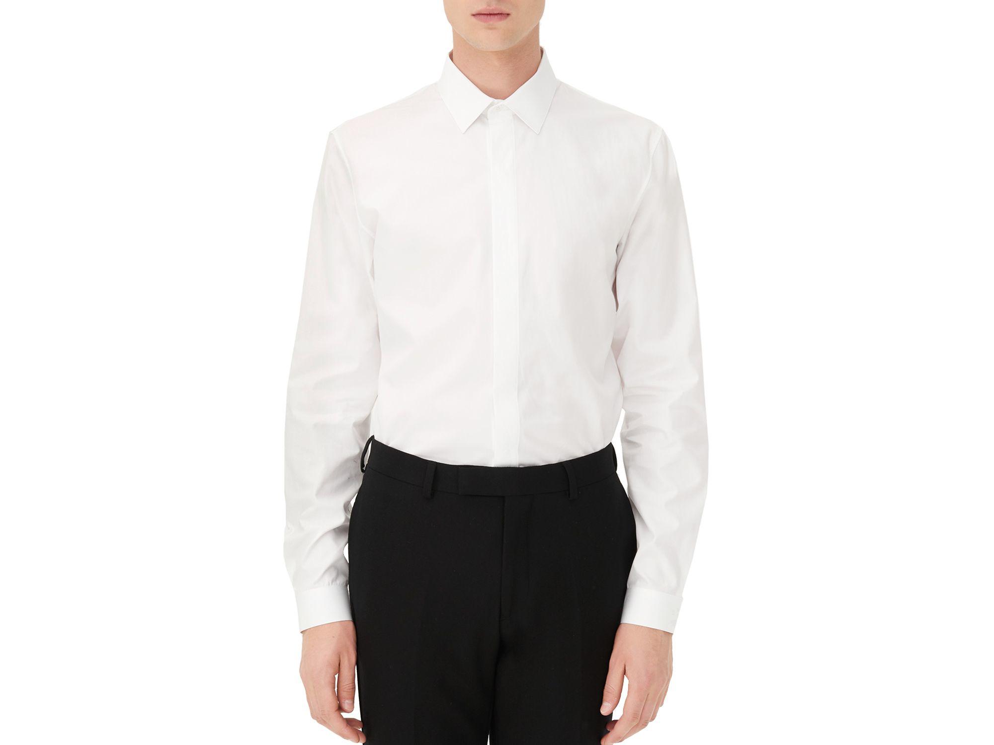 Sandro hidden slim fit button down shirt in white for men for Slim fit white button down shirt