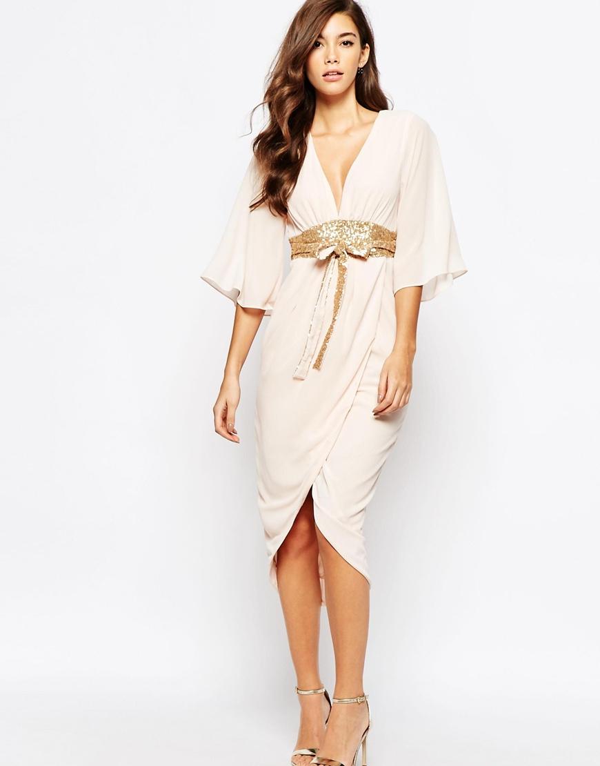 Lyst - Tfnc London Kimono Sleeve Chiffon Dress With Sequin Obi Belt ...