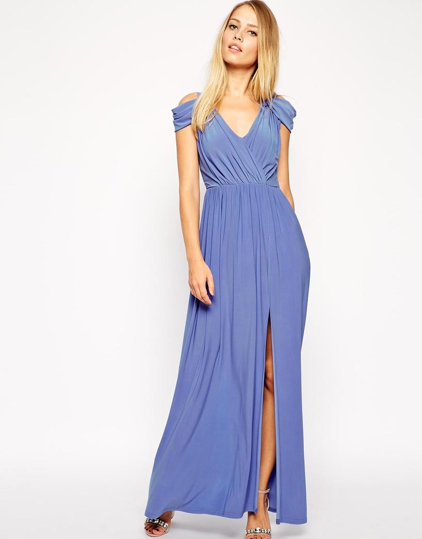 Asos Wrap Front Maxi Dress in Purple | Lyst