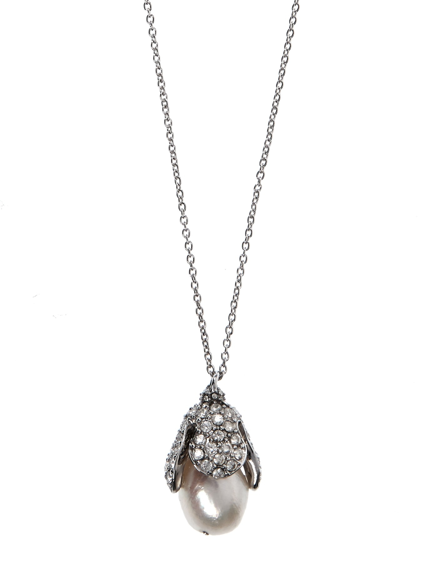 Balenciaga Eugenia Pearl And Crystal Necklace in Silver (Metallic)