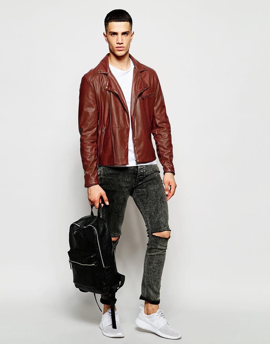 c77758a2c9530 Lyst - ASOS Faux Leather Biker Jacket In Brown in Brown for Men