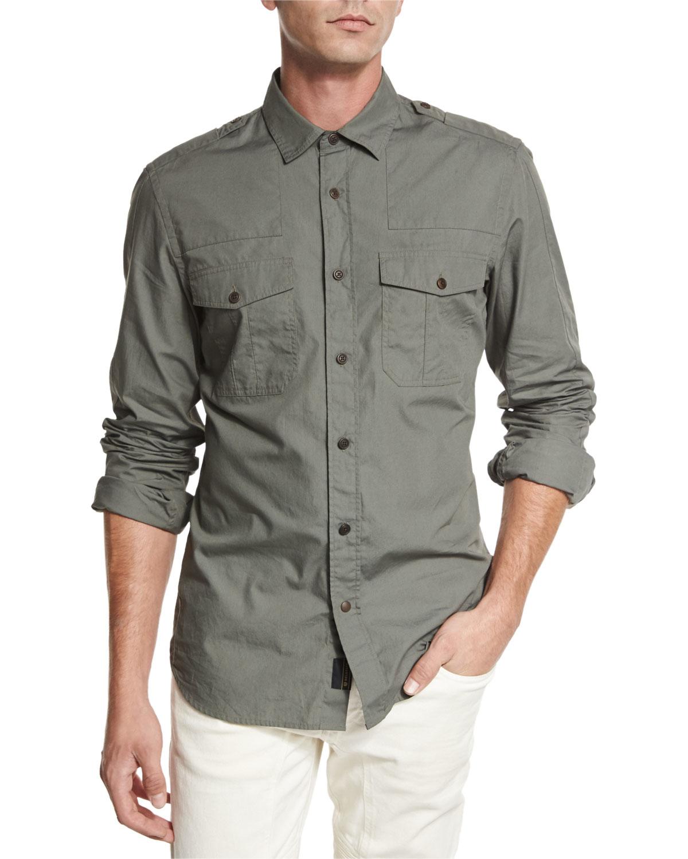 Belstaff steven long sleeve military style shirt in green for Mens military style long sleeve shirts