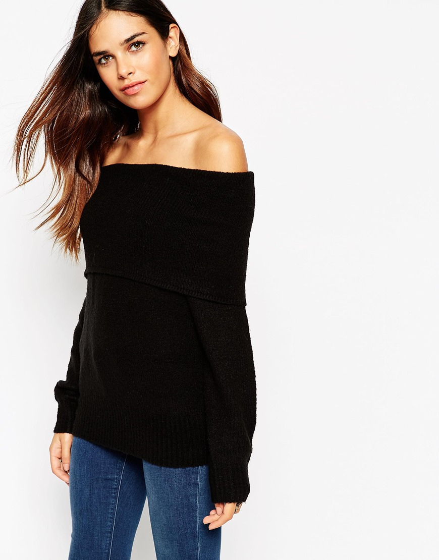 f127a69bb2eed Lyst - ASOS Jumper With Bardot Neck in Black