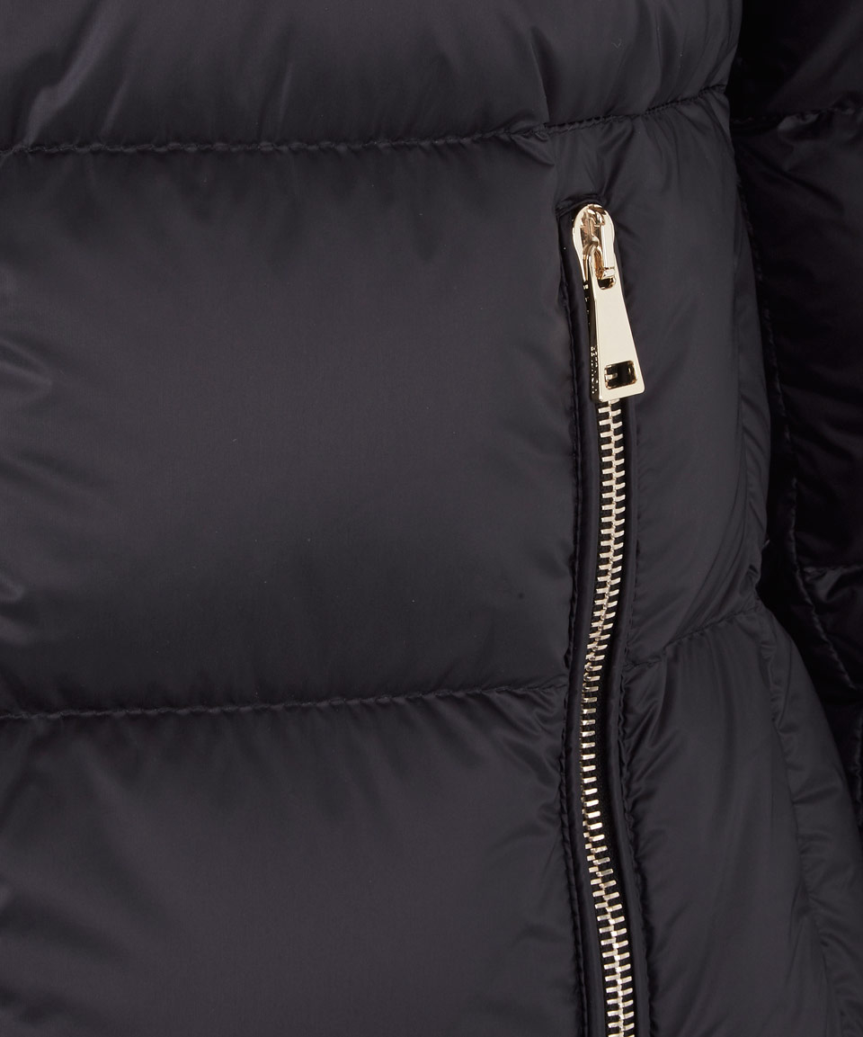 Lyst - Moncler Black Anet Funnel Neck Peplum Down Jacket ...