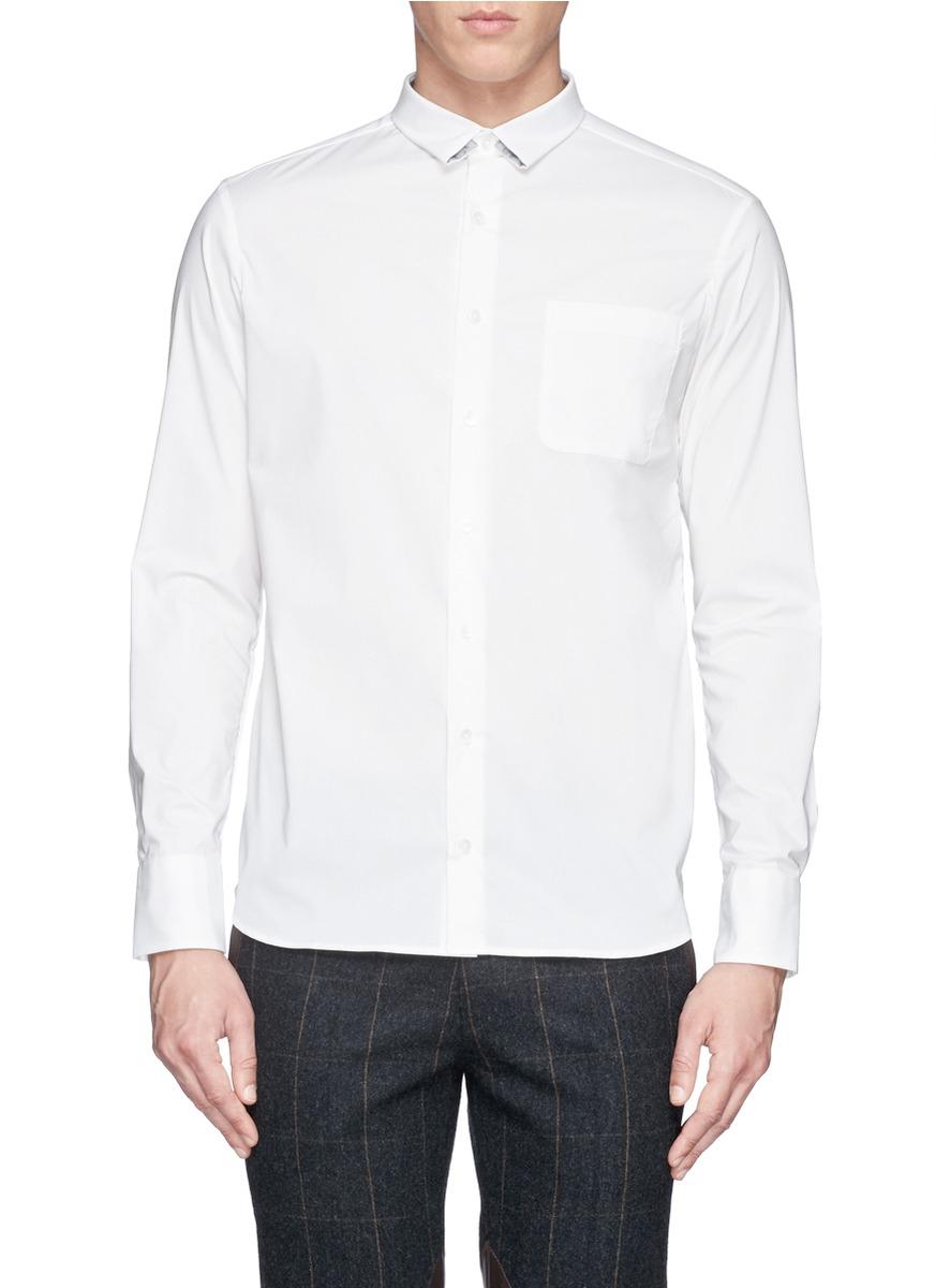 Kolor super slim collar shirt in white for men lyst for Super slim dress shirts