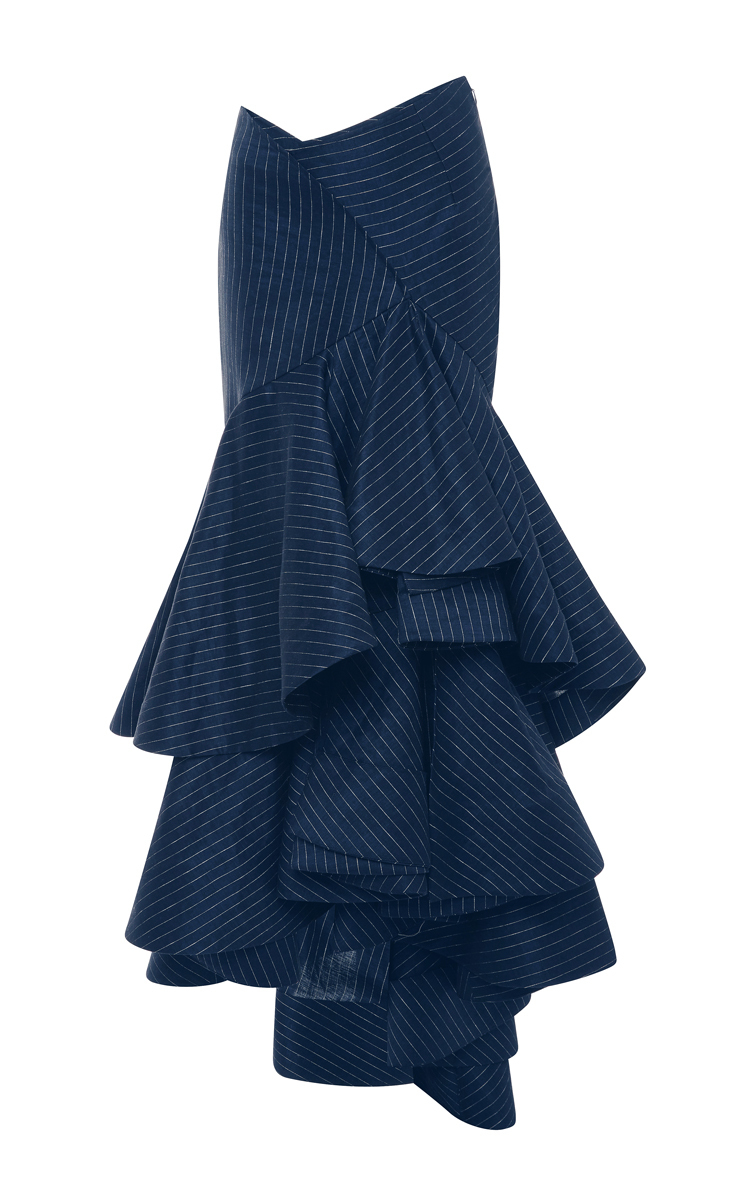 rosie assoulin pinstriped linen layered ruffled skirt in