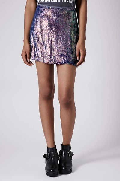 topshop blue sequin mini skirt in blue lyst