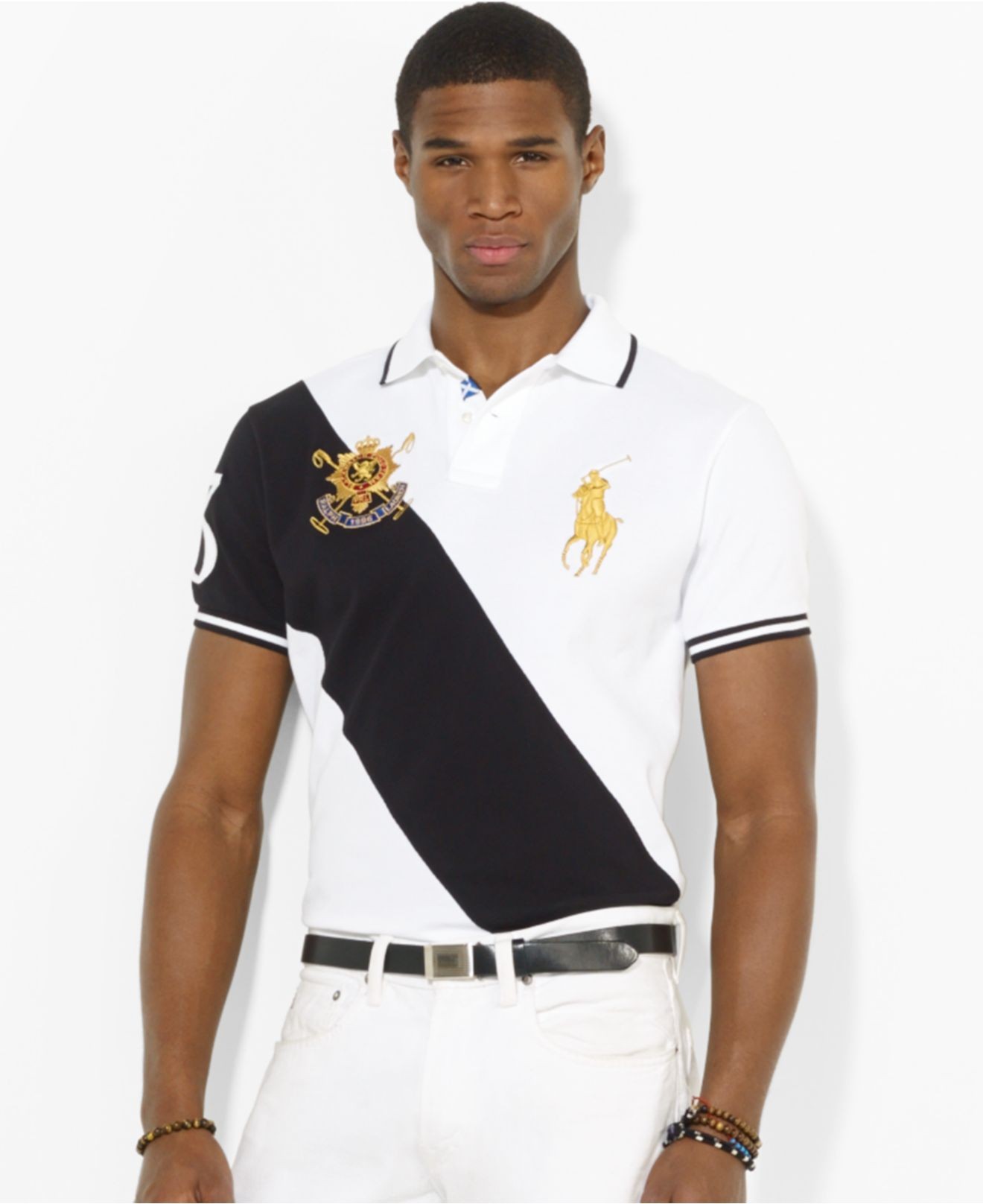 lyst polo ralph lauren black watch custom fit banner striped polo in black for men. Black Bedroom Furniture Sets. Home Design Ideas