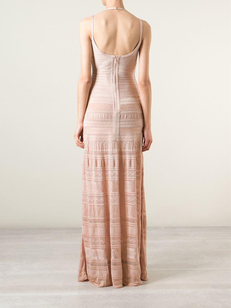 Hervé Léger Vyvien Bandage Evening Dress in Natural - Lyst