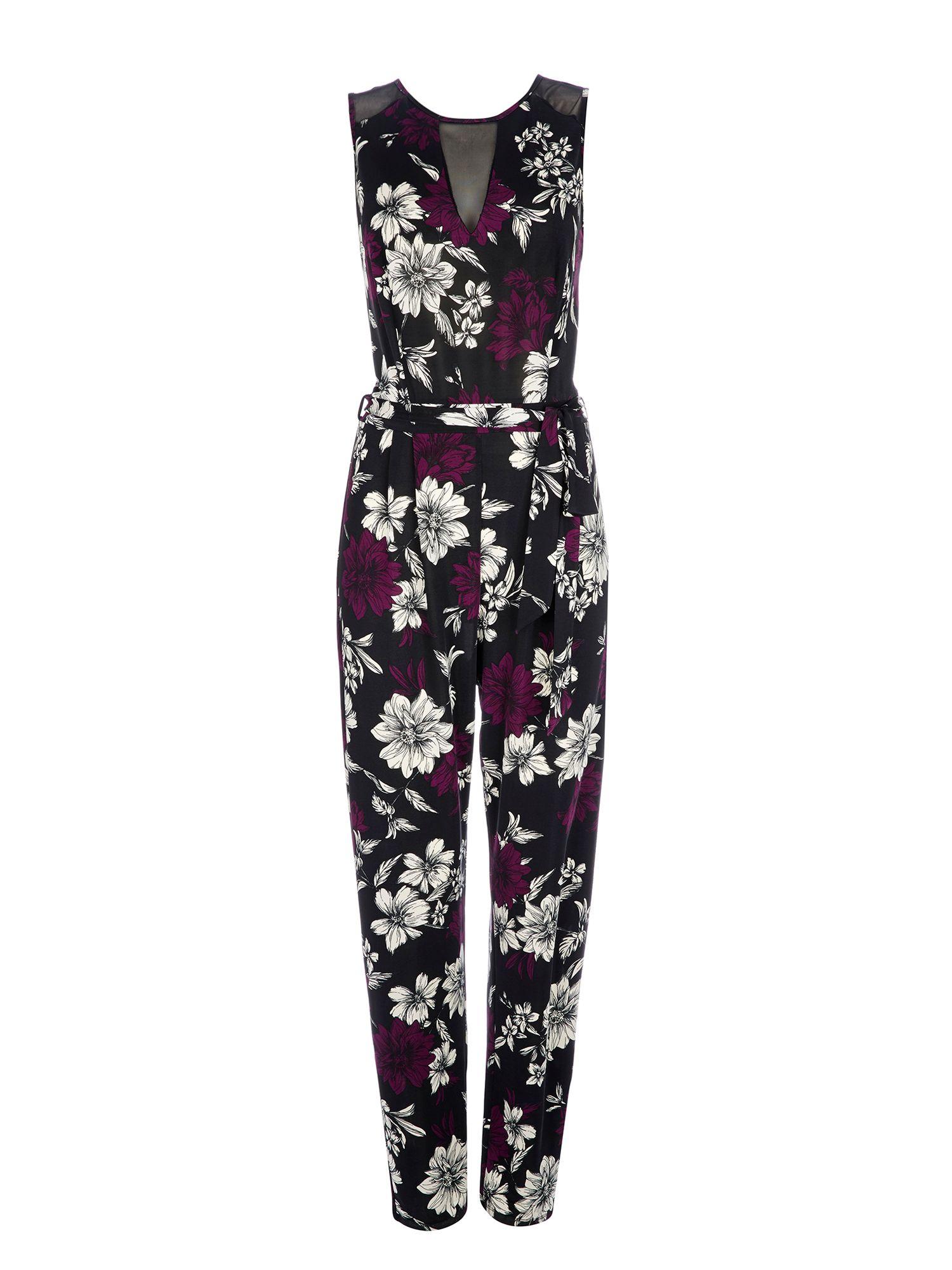 6ed538740efb Lyst - Wallis Purple Floral Print Jumpsuit in Purple
