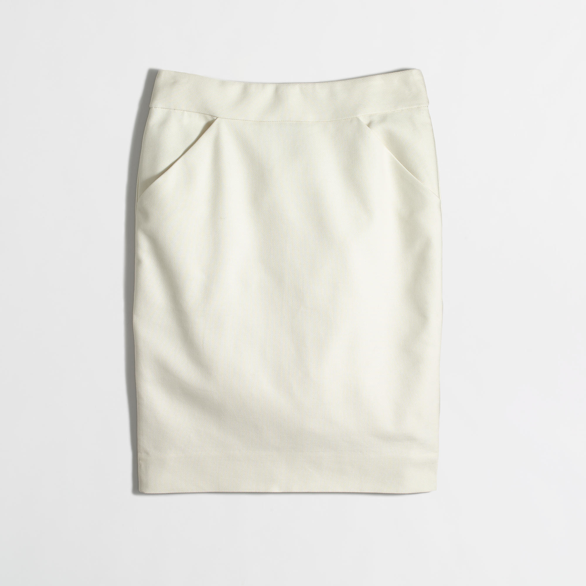 J.crew Factory Tall Pencil Skirt In Double-Serge Cotton in White ...